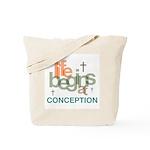 Life Begins At Conception Tote Bag