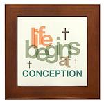 Life Begins At Conception Framed Tile