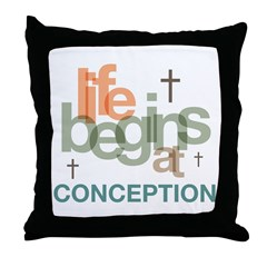 Life Begins At Conception Throw Pillow