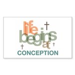 Life Begins At Conception Sticker (Rectangle 10 pk