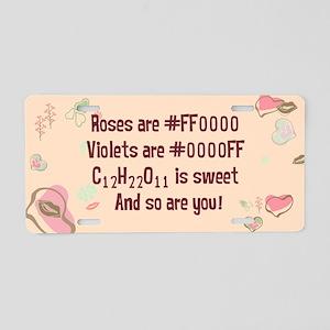 Geek Roses are Red Retro Aluminum License Plate