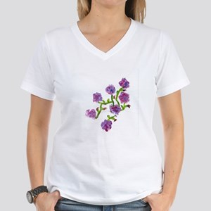 Purple Flowers Women's V-Neck T-Shirt