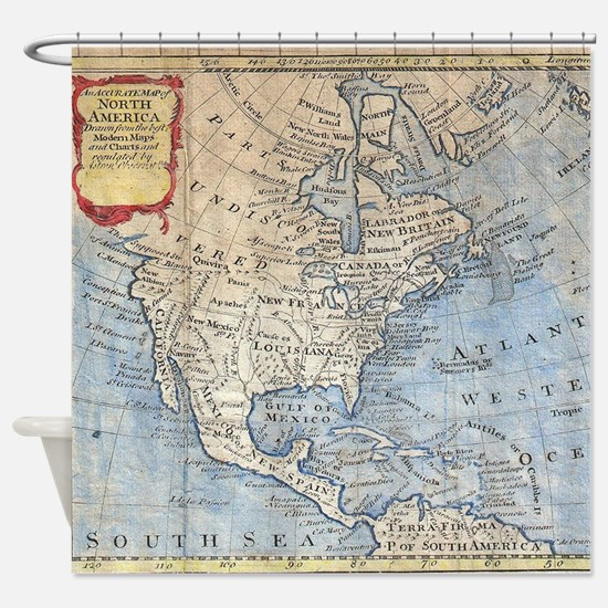 Vintage Map of North America (1747) Shower Curtain