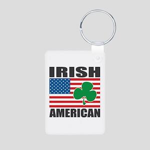 Irish American Flag Aluminum Photo Keychain
