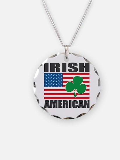 Irish American Flag Necklace Circle Charm