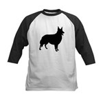 Collie Silhouette Kids Baseball Jersey