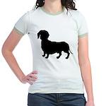 Dachshund Silhouette Jr. Ringer T-Shirt
