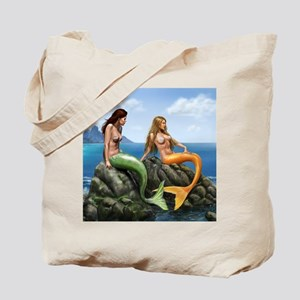 Pensive Mermaids on Rocks Tote Bag