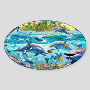 Dolphin Reef Sticker (Oval)