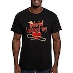 Gabriel Lassoed My Heart Men's Fitted T-Shirt (dar