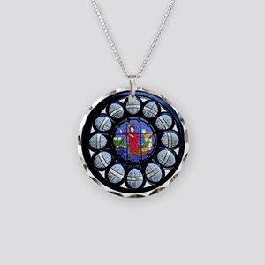 Stained Glass Rose Window Pendant Necklace