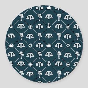 Delta Tau Delta Blue Pattern Round Car Magnet