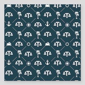 "Delta Tau Delta Blue Pat Square Car Magnet 3"" x 3"""