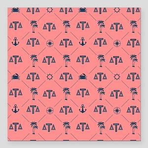 """Delta Tau Delta Coral Pa Square Car Magnet 3"""" x 3"""""""