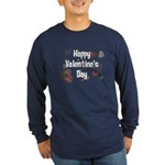 Happy Valentine's Day Retro Long Sleeve Dark T-Shi