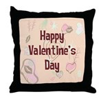 Happy Valentine's Day Retro Throw Pillow