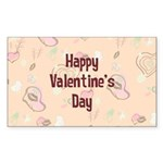 Happy Valentine's Day Retro Sticker (Rectangle)