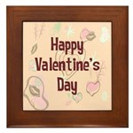 Happy Valentine's Day Retro Framed Tile
