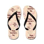 Happy Valentine's Day Retro Flip Flops