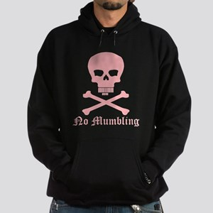 """""""No Mumbling"""" Steno Skull Pink, Front Only Hoodie"""
