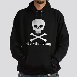 """""""No Mumbling"""" Steno Skull White, Front Only Hoodie"""