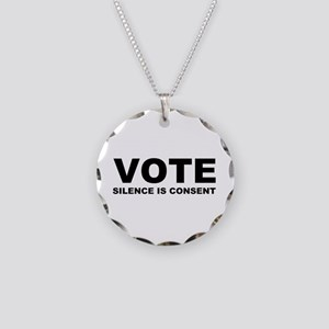 Vote Silence is consent Necklace Circle Charm