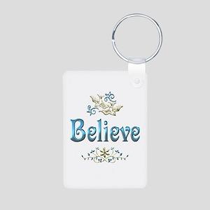 Believe Aluminum Photo Keychain