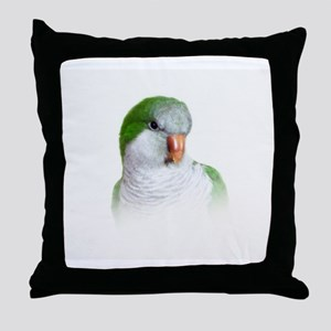 Green Quaker Parrot Throw Pillow