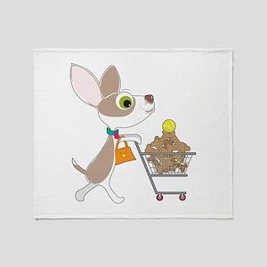 Chihuahua Shopping Throw Blanket