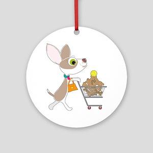 Chihuahua Shopping Ornament (Round)
