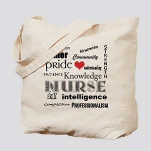 Proud Nurse Attributes+Red Heart Tote Bag