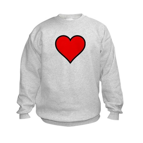 Plain Red Heart w/ black outline Kids Sweatshirt