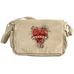 Heart Shark Messenger Bag