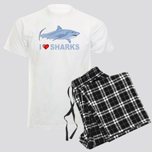 I Love Sharks Men's Light Pajamas