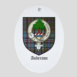 Anderson Clan Crest Tartan Oval Ornament