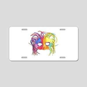 Feathered Mardi Gras Mask Aluminum License Plate