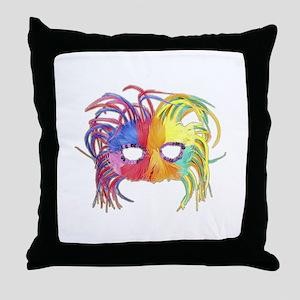 Feathered Mardi Gras Mask Throw Pillow