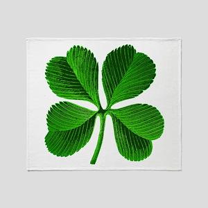 Lucky Charm 4-Leaf Clover Irish Throw Blanket