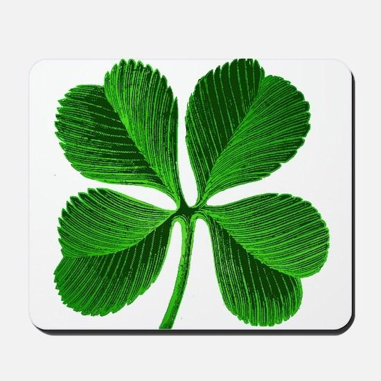 Lucky Charm 4-Leaf Clover Irish Mousepad