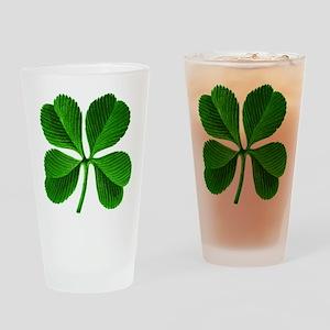 Lucky Charm 4-Leaf Clover Irish Drinking Glass