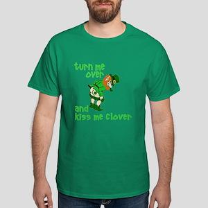 Kiss Me Clover Funny Irish Dark T-Shirt