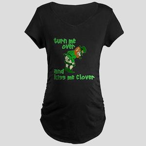 Kiss Me Clover Funny Irish Maternity Dark T-Shirt