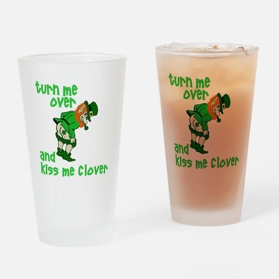 Kiss Me Clover Funny Irish Drinking Glass