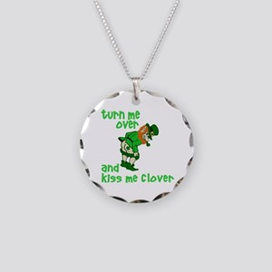 Kiss Me Clover Funny Irish Necklace Circle Charm