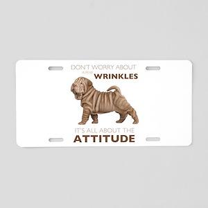 Shar Pei Attitude Aluminum License Plate