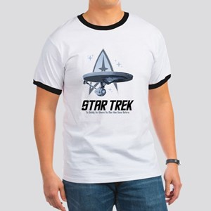 Star Trek Ship with Stars Ringer T