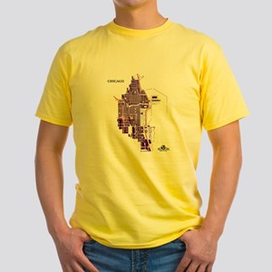 Chicago Men's T-Shirt Purple on Yellow