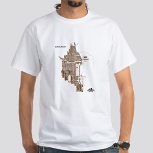 Chicago Men's T-Shirt Dark Gold on White