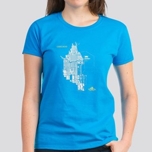 Chicago Women's T-Shirt White on Caribbean Blue