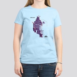 Chicago Women's T-Shirt Purple on Light Pink